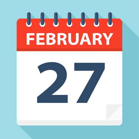 February 27 - Calendar Icon - Vector Illustration