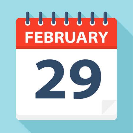 February 29 - Calendar Icon - Vector Illustration 矢量图像
