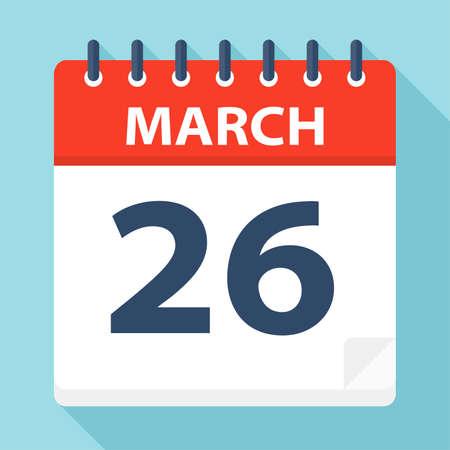 April 26 - Calendar Icon - Vector Illustration Ilustração