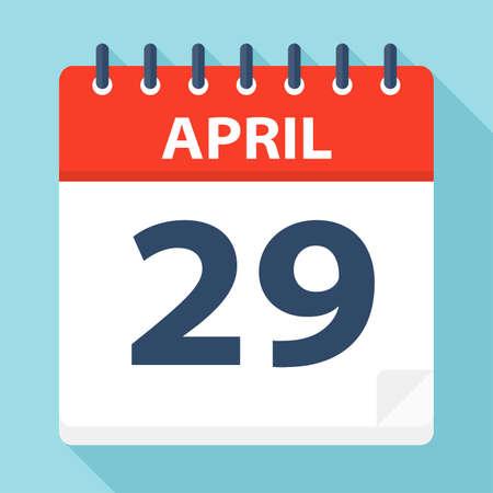 April 29 - Calendar Icon - Vector Illustration Illustration
