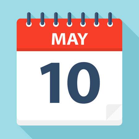 May 10 - Calendar Icon - Vector Illustration
