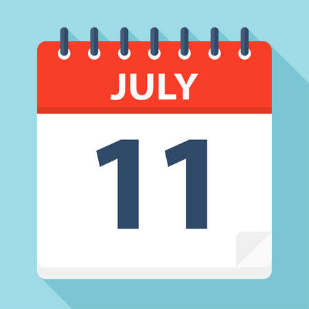 July 11 - Calendar Icon - Vector Illustration Illustration