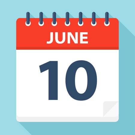 10 juin - icône de calendrier - illustration vectorielle