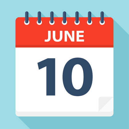 June 10 - Calendar Icon - Vector Illustration