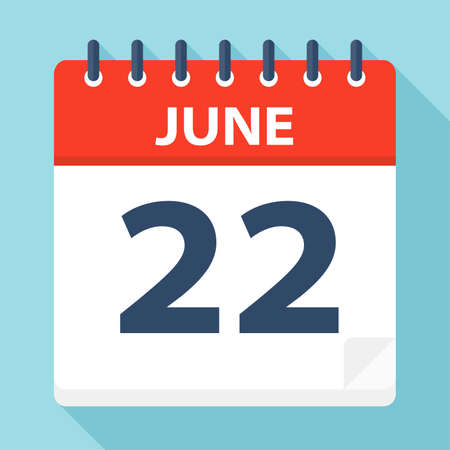 June 22 - Calendar Icon - Vector Illustration