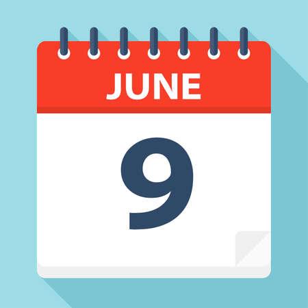 June 9 - Calendar Icon - Vector Illustration