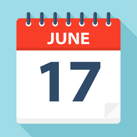 June 17 - Calendar Icon - Vector Illustration Ilustração