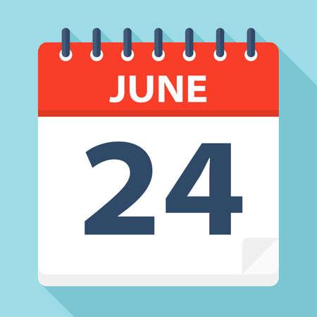 June 24 - Calendar Icon - Vector Illustration