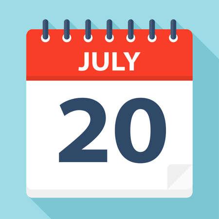July 20 - Calendar Icon - Vector Illustration