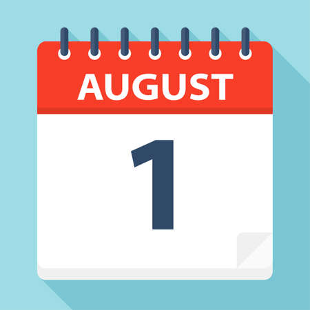 August 1 - Calendar Icon - Vector Illustration Illustration