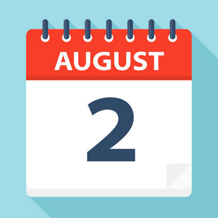 August 2 - Calendar Icon - Vector Illustration