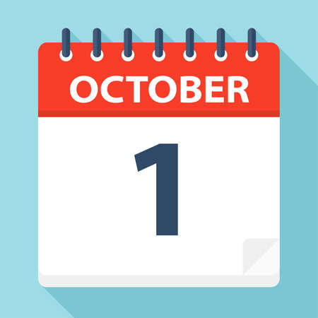October 1 - Calendar Icon - Vector Illustration  イラスト・ベクター素材