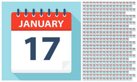 1 gennaio - 31 dicembre - Icone del calendario. Tutti i giorni dell'anno. Illustrazione vettoriale