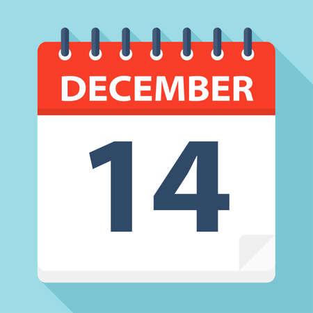 14 dicembre - Icona Calendario - Illustrazione Vettoriale