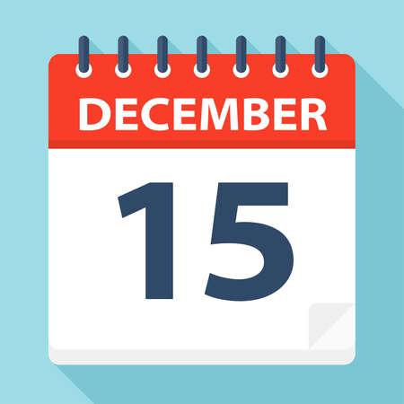 December 15 - Calendar Icon - Vector Illustration