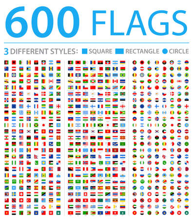 All World Flags - Three Different Styles: Circle, Square, Rectangle - Vector Flat Icons