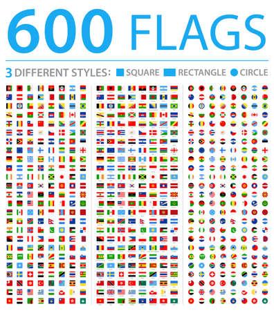 Todas las banderas del mundo: tres estilos diferentes: círculo, cuadrado, rectángulo: iconos planos vectoriales Ilustración de vector