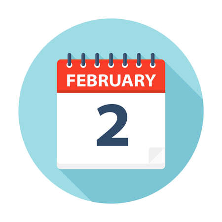 February 2 - Calendar Icon - Vector Illustration 矢量图像