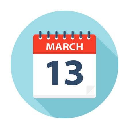 March 13 - Calendar Icon - Vector Illustration