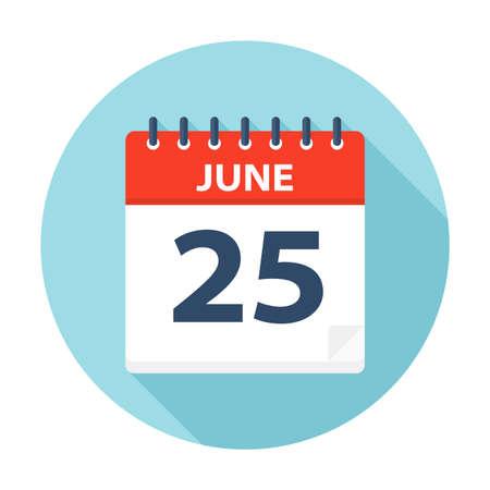 25 juin - icône de calendrier - illustration vectorielle