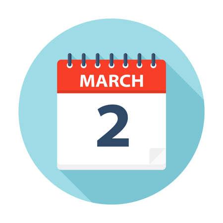 March 2 - Calendar Icon - Vector Illustration Çizim