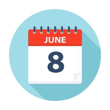 8 giugno - Icona Calendario - Illustrazione Vettoriale Vettoriali