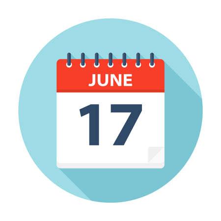 17 juin - icône de calendrier - illustration vectorielle