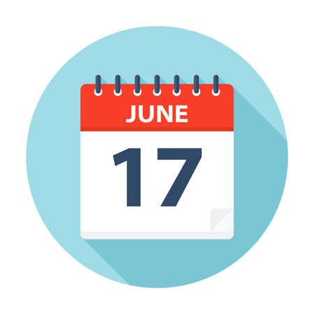 June 17 - Calendar Icon - Vector Illustration Stock Vector - 109723778