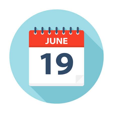 June 19 - Calendar Icon - Vector Illustration