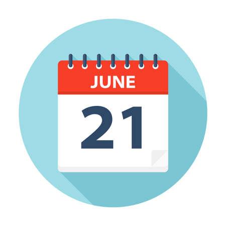 21 giugno - Icona Calendario - Illustrazione Vettoriale
