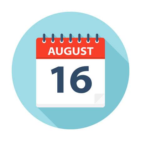 16 agosto - Icona Calendario - Illustrazione Vettoriale