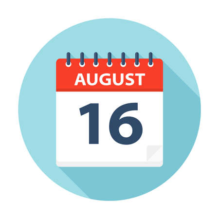 August 16 - Calendar Icon - Vector Illustration Banco de Imagens - 109723823