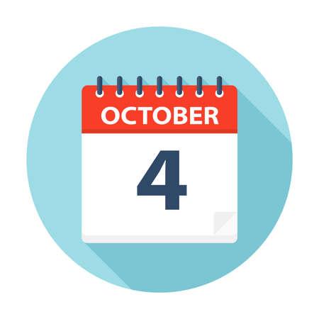 October 4 - Calendar Icon - Vector Illustration Illusztráció