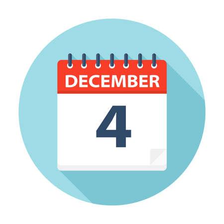 December 4 - Calendar Icon - Vector Illustration Ilustração