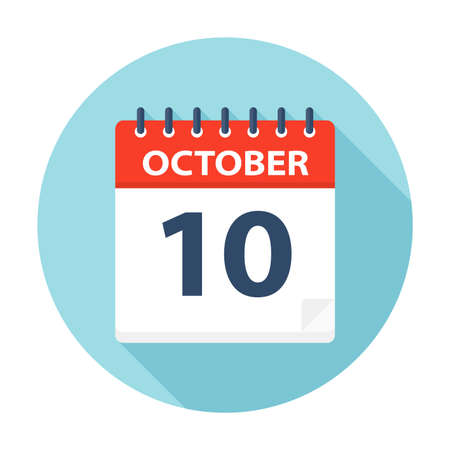 October 10 - Calendar Icon - Vector Illustration Çizim