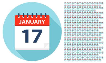 1 gennaio - 31 dicembre - Icone del calendario. Tutti i giorni dell'anno. Illustrazione vettoriale Vettoriali