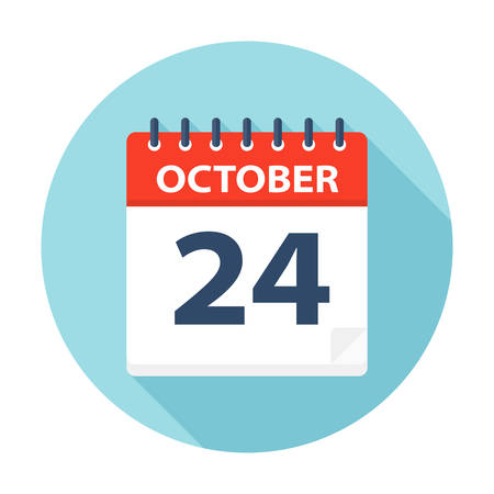 October 24 - Calendar Icon - Vector Illustration Çizim