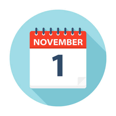 November 1 - Calendar Icon - Vector Illustration Çizim