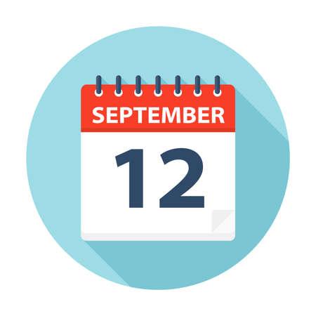 September 12 - Calendar Icon - Vector Illustration Illustration