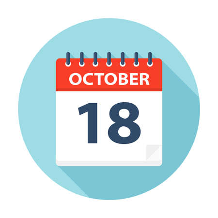 October 18 - Calendar Icon - Vector Illustration