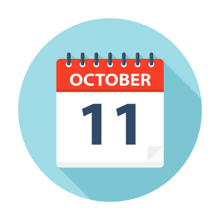 October 11 - Calendar Icon - Vector Illustration Çizim