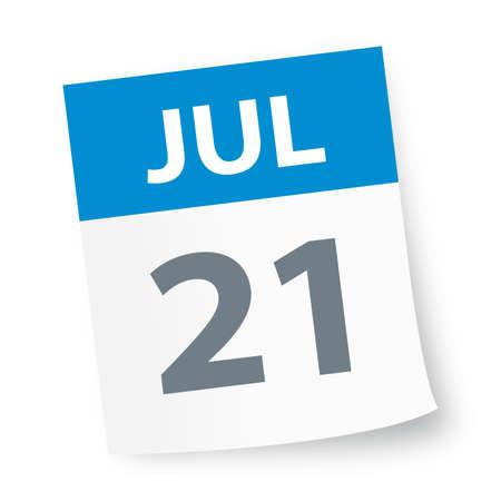 July 21 - Calendar Icon - Vector Illustration Иллюстрация