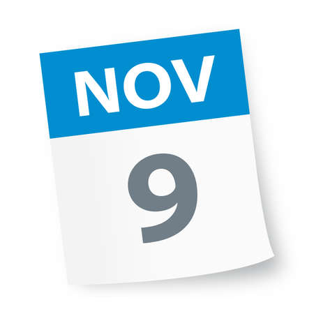 November 9 - Calendar Icon - Vector Illustration