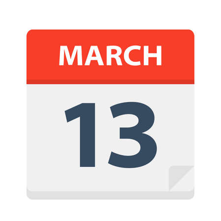 March 13 - Calendar Icon - Vector Illustration