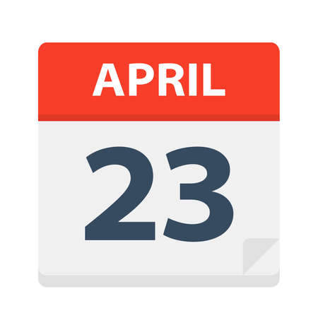 April 23 - Calendar Icon - Vector Illustration Ilustração