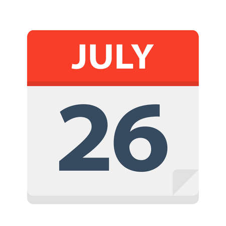 July 26 - Calendar Icon - Vector Illustration