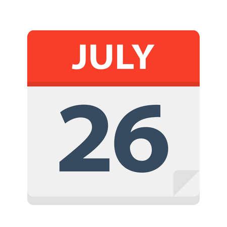 July 26 - Calendar Icon - Vector Illustration