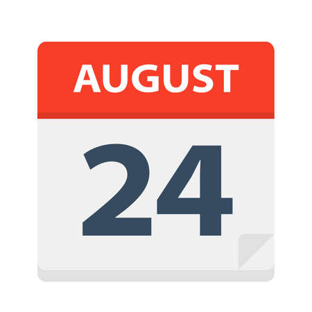 August 24 - Calendar Icon - Vector Illustration