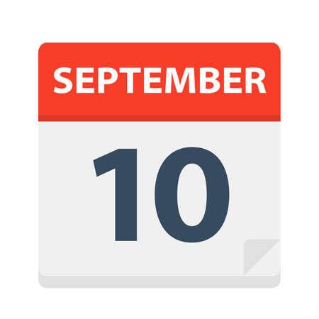 September 10 - Calendar Icon - Vector Illustration