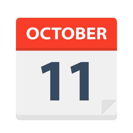October 11 - Calendar Icon - Vector Illustration  イラスト・ベクター素材